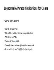Lognormal & Pareto Distributions for Claims.pptx