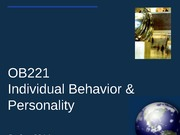 individual behavior and personality