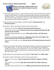 Natural Selection.doc - Darwins Natural Selection Worksheet ...