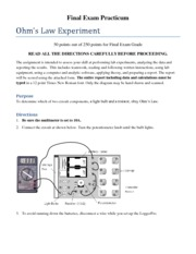 Final Exam Practicum Physics I Honors - Ohms Law