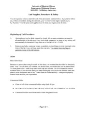 Lab Supplies Procedures and Safety