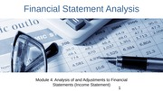 Module 4 Analysis of and Adjustments to Financial Statements (Income)