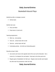 basketball inbouding and pick and roll journal