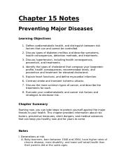 Chapter 15 - Preventing Major Disease - Notes