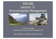 Week 10 Lecture 17 - Environmental Management