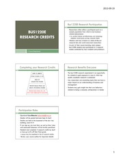 Bus1220E Research Credits Powerpoint