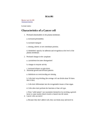 Characteristics of a Cancer cell