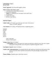 AnthropologyExam1 Review sheet