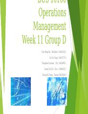 BUS10160 Operations Management Week 11 Group D