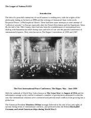 Modern American History 1950 to the 21st Century Week 2 Intelllipath The League of Nations