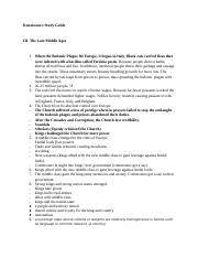 Study Guide - Late Middle Ages and Renaissance.docx