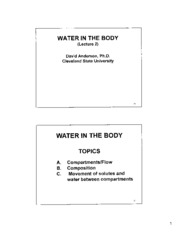 Kidney Slides Lecture 2 Water in Body  PDF CHM 651 For Taking Notes Fall 2011 Final