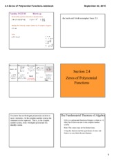 2.4 Zeros of Polynomial Functions