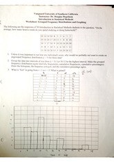 Grouped Frequency Distributions and Graphing worksheet