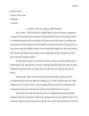 Optional Short Essay - Elliot's The Love Song of J. Alfred Prufrock.docx