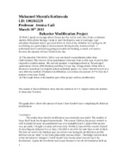 behavior modification project Behavior modification project on studybaycom - other, research paper - gladyssam | 312976.
