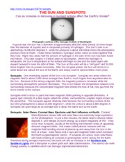 Lesson 8-3 Sunspots-Climate Article-NOAA 11-20-12