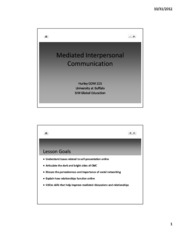 Lecture 21 - Mediated Interpersonal Communication