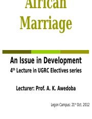 African_Marriage-2012_Lecture Four