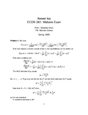 2009 Midterm Solutions