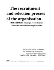 BSBHRM506 Manage recruitment, selection and induction processes