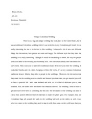 Columbian wedding essay