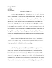 Fatherlessness Reflection Paper