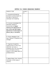 VIDEO PROJECT GRADING RUBRIC