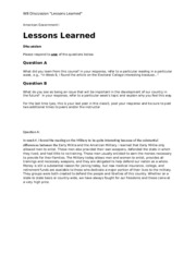 W8 Discussion Lessons Learned