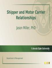 Shipper & Motor Carrier Relationships