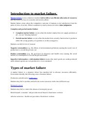Introduction to market failure