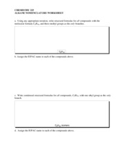 01 Alkane Nomenclature worksheet