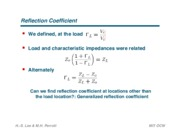 Generalized Reflection Coefficient notes