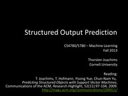 23 Structural Output Prediction via Structural SVMs
