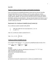 Stat 2593 Chapter 4 Continuous Random Variables and Probability Distributions