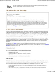 MLA Overview and Workshop -..