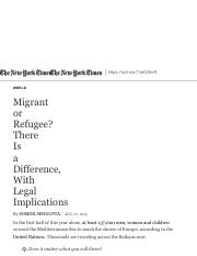 Migrant or Refugee? There Is a Difference, With Legal Implications - The New York Times.pdf