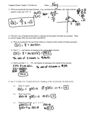 Review Packet Solutions - Chapter 4 - 2 Algebra Honors Chapter 4