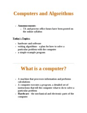 Computers and Algorithms