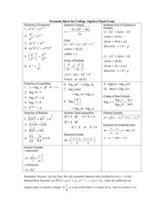 FORMULASHEETCA - Formula Sheet for College Algebra Final Exam