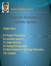 Chapter 9B Expressions and Arithmetic Operators Answers