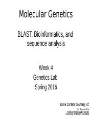 Mol gen week 4 DNA sequencing and sequence analysis Sp 2016