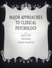 Psy 480 Major Approach in clinical psychology