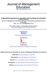 A Situational Approach For Assessing And Teaching Acculturation. Journal Of Management Education (Mo