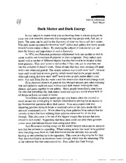 Dark Matter and Dark Energy Example