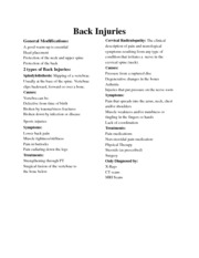 Back Injuries flyer