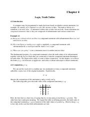 Logic and Truth Tables - Chapter 4 Schaums