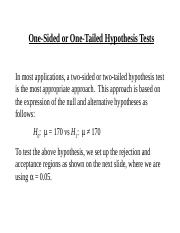 One-sided or One-tailed Tests