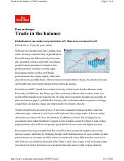 EC 430 Trade in the Balance - Economist Article