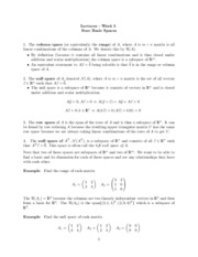 Study Guide on Four Basis Spaces (Column Space, Null Space, Row Space)